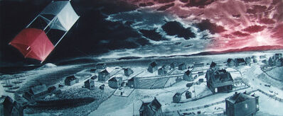 David Blackwood, 'Uncle Cluny's Kite over Wesleyville ', 1989