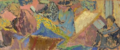 Duncan Grant, 'The Group at Asheham: Adrian Stephen, Virginia Woolf, Vanessa Bell, and Henri Doucet', 1913