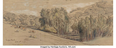 Samuel Colman, 'Eucalyptus Groves on the Cooper Ranch, Santa Barbara, and Cypress Trees, Cypress Point (two works)'