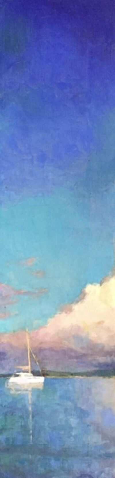 """Larry Horowitz, '""""Catamaran"""" vertical oil painting of bright blue sky and clouds over sailboat', 2020"""