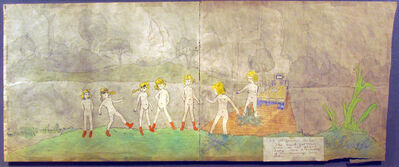 Henry Darger, 'At Jennie Richie the truck go trouble-some on the plank bridge near a tributary of Aronburg's Run'