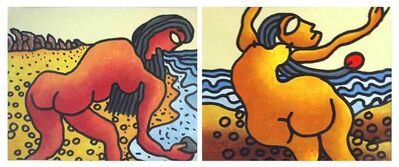 "Prokash Karmakar, 'Beach Series, Nude, Set of 2, Mixed Media on Paper by Modern Artist ""In Stock""', 2004"