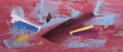 Milly Ristvedt, 'Red Finish - horizontal dynamic abstraction with red, yellow and blue', 1981