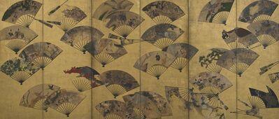 "Tawaraya Sōtatsu, 'Screen with Scattered Fans. Sōtatsu school, ""Tatō"" seal.', early 17th century"