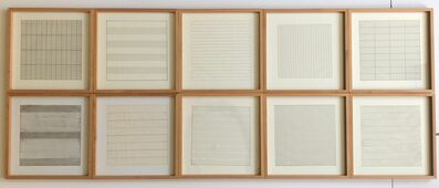 Agnes Martin, 'Suite of 10 (Ten) Original Lithographs on Vellum Parchment - Framed (Stedelijk Museum, Amsterdam, the Netherlands)', 1990-1991