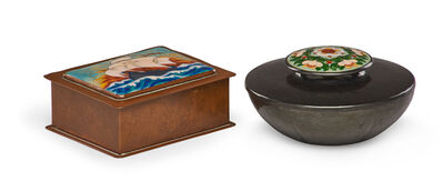 Boston School, 'Cigarette box with ship by unidentified artist and lidded vessel with flowers by Gertrude Twitchell'