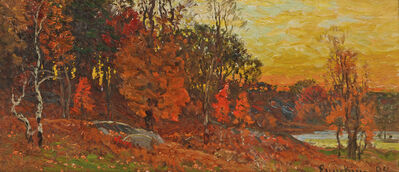 John Joseph Enneking, 'Autumn Landscape with Pond'