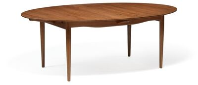Finn Juhl, 'Judas Table. Oval teak dining table with extension and two extra leaves with circular silver inlays. Reverse side of top with profiled rim.'