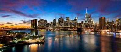 Andrew Prokos, 'Panoramic Skyline of Brooklyn Bridge and Manhattan at Dusk', 2017