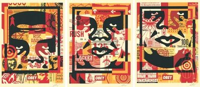 Shepard Fairey, 'OBEY GIANT 3 FACE COLLAGE', 2019