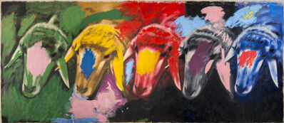 Menashe Kadishman, '5 Sheep's Heads', 1980-1982