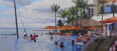 Jack Mendenhall, 'Orange Umbrellas and Infinity Pool', 2015
