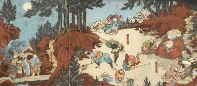 Utagawa Toyokuni III (Utagawa Kunisada), 'Ushiwakamaru Training with Tengu in the Mountains Near Kyoto', ca. 1830