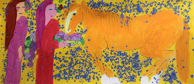 Walasse Ting 丁雄泉, 'Two Ladies with a Horse of Tangerine Colour 兩位女士與橘紅色的馬 ', 1990s