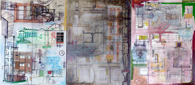 Marcello Pozzi, 'UNTITLED TRIPTIC, STRATICOLLAGE, 3 panels | Abstract Painting Los Angeles ', 2010