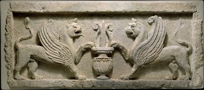 Unknown Parthian, 'Door lintel with lion-griffins and vase with lotus leaf', ca. 2nd–early 3rd century A.D.