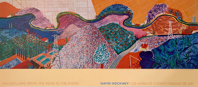 David Hockney, 'David Hockney Mulholland Drive, The Road to the Studio, Special Continuous Tone (No Dots) Lithograph Poster, LONG SOLD OUT AT LACMA', 1980
