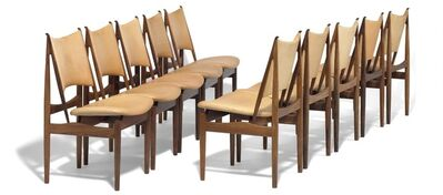 Finn Juhl, 'The Egyptian Chair. Rare set of 10 Brazilian rosewood chairs. Seat and back upholstered with natural leather.'