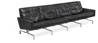 Poul Kjærholm, 'PK 31/4. Freestanding four seater sofa with chromed steel frame. Sides, back and loose cushions upholstered with original, patinated black leather.'