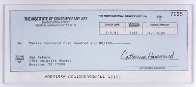 Mark Flood, 'ICA Check', 1992