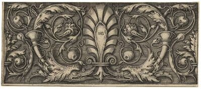 Hans Sebald Beham, 'Querfüllung mit der Palmette – Ornament with Scroll and Dolphin Heads'