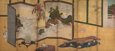 """'Whose Sleeves? (tagasode) Painting with """"Waves of Matsushima"""" Screen', 18th century"""