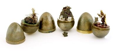 Stuart Devlin, 'Three silver gilt surprise eggs', 1978, 1979, 1980