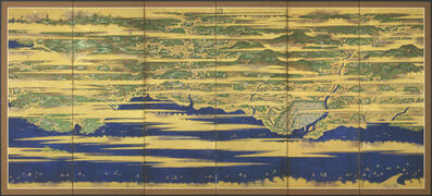 Tosa School, 'A Japanese six-fold screen with a map of Buzen and Bungo provinces, depicting numerous figures and ships at sea amongst golden clouds', circa 1621, 1632, Edo period