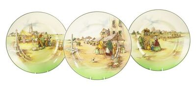 Royal Doulton, 'three rare Market Day B series ware plates', c.1954