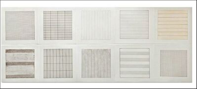 Agnes Martin, 'Paintings and Drawings 1974-1990 (Deluxe Edition) Suite of Ten (10) Limited Edition Lithographs (from the Stedelejk Museum) - BRAND NEW, unopened, mint condition in original publisher's shrink wrap', 1991