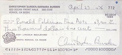 Chris Burden, 'Full Financial Disclosure', 1977