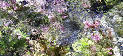Larry Garmezy, 'The Garden Below - Abstract / impressionist water photography, waterscape, natural abstraction, Rocky Mountains, in green, pink, and blue', 2019