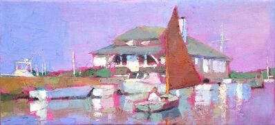 "Larry Horowitz, '""Setting Sail, Edgartown"" Catboat with Maroon Sail, Yacht Club, Purple and Pink sky reflected on water', 2010-2017"