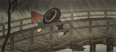 Hiroaki Takahashi (Shotei), 'Izumi Bridge in Rain', ca. 1930