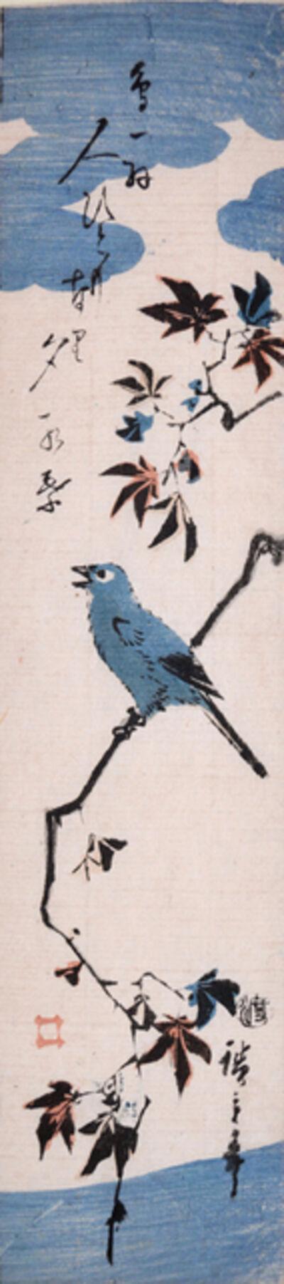 Utagawa Hiroshige (Andō Hiroshige), 'Japanese White-eye on Autumn Maple', ca. 1845