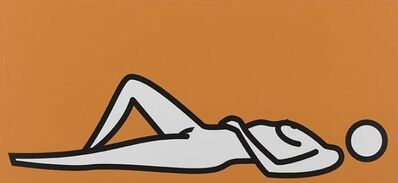 Julian Opie, 'Female nude lying hands on stomach knees up', 2000