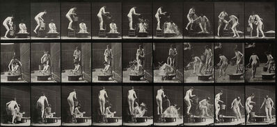 Eadweard Muybridge, 'Plate 408 Two models; 1 pouring bucket of water over 8', 1887