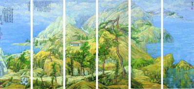 Zhang Hongtu, 'Bada (six panels) - Cezanne', 2006