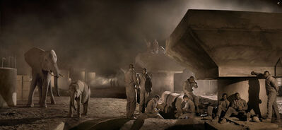 Nick Brandt, 'Bridge Construction With Elephants & Workers at Night', 2018