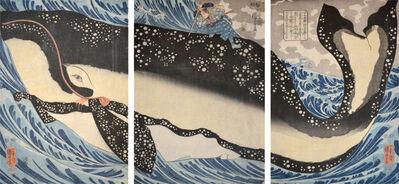 Utagawa Kuniyoshi, 'Miyamoto Musashi and the Whale Off the Coast of Higo (Kumamoto)', ca. 1848
