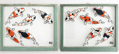 "Jeremy Novy, '""5 Koi - Diptych"" Spray paint on found glass in sage green window wood frame', 2021"