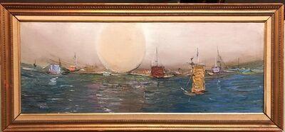 Motke Blum, 'Israeli Modernist Abstract Expressionist Seascape Oil Painting Tel Aviv Harbor', Mid-20th Century
