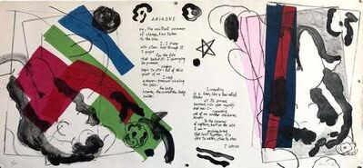 Matt Phillips, 'Ariadne, Poem, Mixed Media Abstract Modernist Colorful Collage Lithograph Print', 1980-1989