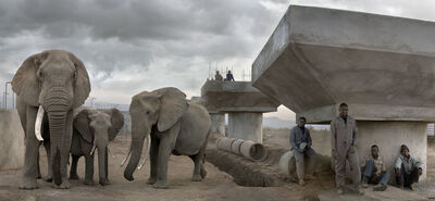 Nick Brandt, 'Bridge Construction with Elephants & Workers in Day', 2018