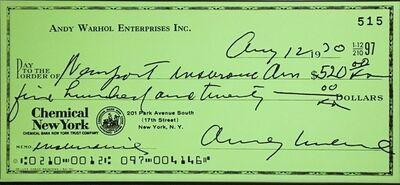 Andy Warhol, 'Andy Warhol Enterprises, Inc. Enlarged Bank Check', 1970