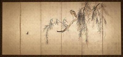 Yoshimura Kōkei, 'Heron In Willows (1 of 12 Panels)', 1833