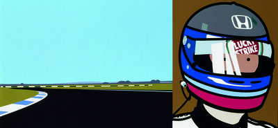 Julian Opie, 'Imagine you are driving (fast)/Rio/helmet', 2002