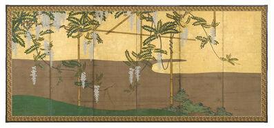 Unknown Artist, 'Folding Screen with White Wisteria (T-3684)', Edo Period (1615-1868) 1800