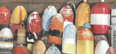 """Michel Brosseau, '""""Autumn Buoys"""" oil painting of red, orange and yellow buoys', 2019"""