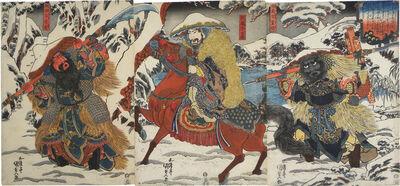Utagawa Toyokuni III (Utagawa Kunisada), 'Zhang Fei, Liu Bei, and Guan Yu', ca. 1830
